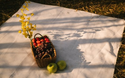 cesta con alimentos que contienen flavonoides: manzanas, uvas, ciruelas, fresas